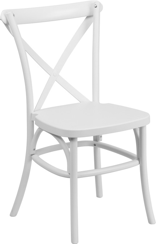 Dover White Resin Cross Back Chair Stackable Chairs