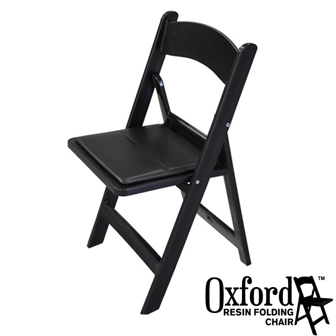 Oxford Black Resin Folding Chair