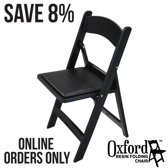 Oxford Black Resin Folding Chair Pallet