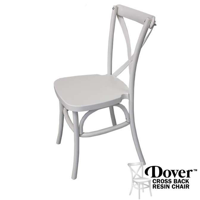 Dover White Resin Cross Back Chair