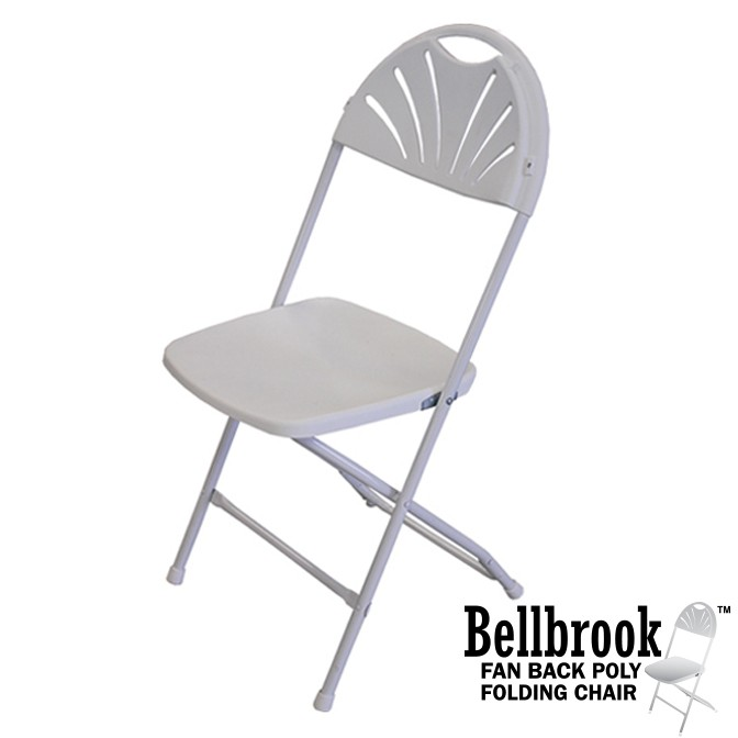 Bellbrook Fan Back White Poly Folding Chair