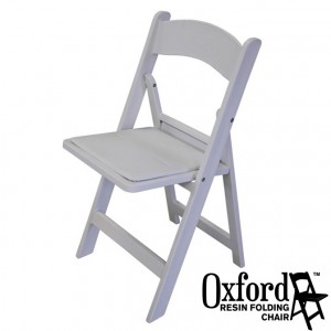 Oxford White Resin Folding Chair